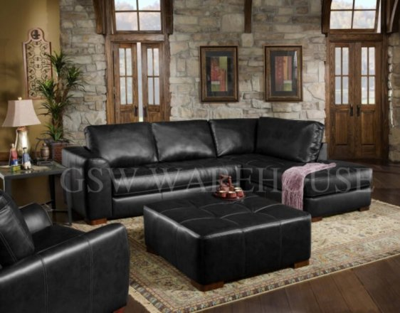 Albany 275 Capri Black 2pc Bonded Leather Sectional Br